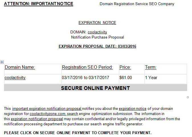 SEO Scam Email